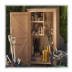 All Things Cedar - Cedar Storage Hutch - Storage Shed - An attractive and practical Storage solution for many uses including sandy beach toys, pool supplies, BBQ tools, sporting gear, even recycling bins. Our 100% Cedar Hutch will keep your outdoor tools and supplies organized and readily accessable place. Item is made to order.