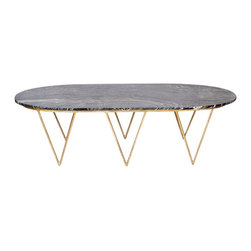 Worlds Away Surf Gold Leafed Coffee Table, Black Marble Top - I love, love, love this oval, marble-top coffee table.