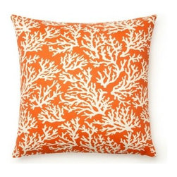 5 Surry Lane - Mandarin Orange Coral Faylinn Indoor Outdoor Pillow - Create a coastal-inspired retreat with this eye-catching pillow.  Brimming with chic style and summer-ready flair, it will brighten any indoor or outdoor space.  Same fabric front and back.  Down feather insert included.  Hidden zipper closure.  Made in the USA.