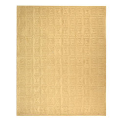 Safavieh - Tibetan Crme Greek Key Rug - Safavieh's High Touch Tibetan Weave brings an ancient weave and fine materials to the present sensibilities of today's interior design. Simple geometric patterns, almost hidden within the weave, with muted accents, soft shades and neutral earth tones, are the main visual characteristics of this series. Features: -Technique: Tibetan weave.-Style: Contemporary.-Vacuum regularly. Brushless attachment is recommended..-Avoid direct and continuous exposure to sunlight..-Do not pull loose ends; clip them with scissors to remove..-Remove spills immediately; blot with clean cloth by pressing firmly around the spill to absorb as much as possible. For hard-to-remove stains professional rug cleaning is recommended..-Construction: Handmade.-Collection: Tibetan.-..-Distressed: No.-Collection: Tibetan.-Construction: Handmade.-Technique: Knotted.-Primary Color: Creme.-Material: 100% Wool.-Fringe: No.-Reversible: No.-Rug Pad Needed: Yes.-Water Repellent: No.-Mildew Resistant: No.-Stain Resistant: No.-Fade Resistant: No.-Swatch Available: No.-Eco-Friendly: No.-Recycled Content: 0%.-Outdoor Use: No.-Product Care: Professional cleaning is recommended.Specifications: -Material: 100% Wool.Dimensions: -Pile height: 0.5''.-Overall Dimensions: 60-168'' Height x 30-120'' Width x 0.5'' Depth.-Overall Product Weight (Rug Size: 6' x 9'): 44.82 lbs.-Overall Product Weight (Rug Size: 8' x 10'): 66.4 lbs. About the Manufacturer: About Safavieh: Safavieh is a leading manufacturer and importer of fine rugs. Established in 1914 in the capital of Persian weaving masters, the company today brings three generations of knowledge and experience to its award-winning collections. In the United States since 1978, Safavieh has been a pioneer in the creation of high quality hand-made rugs, a trend that revolutionized the rug business in America. Its collections range from the finest antique and historical reproductions to the most fashion-forward contemporary and designe