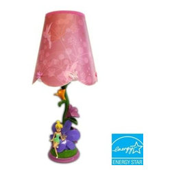 Disney - Disney 14 in. Fairies Figural Pink Lamp with Decorative Shade KK316512 - Shop for Lighting & Fans at The Home Depot. Your little girl will love this Disney Tinkerbell Figural Lamp to beautifully decorate her room.This gorgeous Tinkerbelle lamp will illuminate her room with her favorite Disney Fairy. Featuring Tinkerbell on this beautifully detailed base with ornate flowers and unique glitter & fabric applique detailing. This Lamp gives your little girl's room a shining, magical touch with this Tinkerbell accent lamp. Colorful Tink, flower and globe base with a complementary contrast trim, scalloped edge shade. Dazzling Pearlized Finish. Use 9 Watt compact fluorescent spiral bulb that equals 40 watt incandescent bulb.