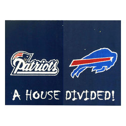Fanmats - NFL Patriots-Bills House Divided Football Accent Floor Rug - Features: