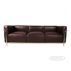 "Kardiel Le Corbusier Style LC3  Sofa 3 Seat, Choco Brown Leather - The Le Corbusier sofa set series was originally designed in 1928 for the Maison La Roche house in Paris. The design is the modernist response to the traditional club chair. The series comes in a smaller version referred to as the LC2 and a larger version known as the LC3 considered more appropriate for practical living purposes. Remarkably comfortable, Le Corbusier often referred to the pieces as ""cushion baskets"". A striking feature of the LC3 is the externalized metal frame supporting the base, extending as the legs and running the entire length of the piece. Its not just the front of the LC3 that is attractive, the metal frame work means design detail from the sides and back allowing for easy placement even in the middle of a room. The Le Corbusier LC3 set is often used in a group of 2 chairs (1 seat version) and a single sofa or love (2 or 3 seat versions). Kardiel offers the highest quality Le Corbusier LC3 Grande' reproduction on the market. We specialize in this series and under"