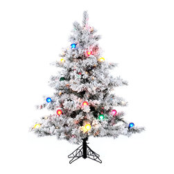 "Vickerman - Flocked Alaskan Dura 200MU/G50 (4.5' x 44"") - 4.5' x 44"" Flocked Alaskan Pine Tree with 200 Multicolor Dura-Lit Lights and 22 G50 Multicolor Lights, 349 tips, metal stand Dura-lit Lights utilize microchips in each socket so bulbs stay lit even when some bulbs are broken or missing."