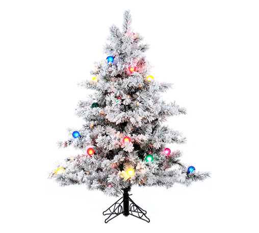 """Vickerman - Flocked Alaskan Dura 200MU/G50 (4.5' x 44"""") - 4.5' x 44"""" Flocked Alaskan Pine Tree with 200 Multicolor Dura-Lit Lights and 22 G50 Multicolor Lights, 349 tips, metal stand Dura-lit Lights utilize microchips in each socket so bulbs stay lit even when some bulbs are broken or missing."""