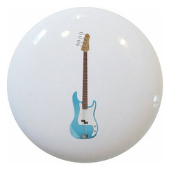 Carolina Hardware and Decor, LLC - Blue Guitar Ceramic Cabinet Drawer Knob - 1 1/2 inch white ceramic knob with one inch mounting hardware included.  Great as a cabinet, drawer, or furniture knob.  Adds a nice finishing touch to any room!