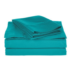 800 Thread Count Twin XL Sheet Set Solid Cotton Rich - Teal - Dress up your bedroom decor with this luxurious 800 thread count Cotton Rich sheet set. A superior blend of materials makes these sheets soft, easy to care for and wrinkle resistant.