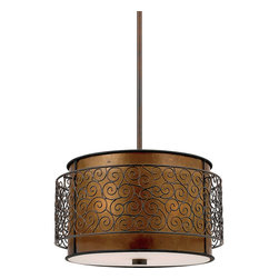 Quoizel - Quoizel Lighting Mica 3 Light Pendant in Renaissance Copper MC843CRC - This artistic piece is an addition to the Quoizel Naturals collection. The drum shade is made of genuine amber mica, and features a metal overlay of thin metal swirls, which appears to be floating around the shade. It provides a warm and inviting accent for most any home.