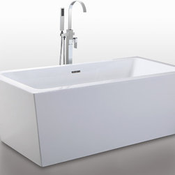 "HelixBath Centaur Freestanding Acrylic Bathtub 67"" White w/ Overflow - Helixbath Centaur features a solid Stainless Steel Integral lineal slotted overflow. Perfectly outfitted hardware compliments the modern clean design. Faucet shown for display purpose only and sold separately. Designs created for bathing purists. The curves and lines are well conceived & uncomplicated. Helixbath�s well tailored soaking tubs provide an ergonomic comfortable spa experience. Featuring an easy to clean 3M Fade Resistant finish and stainless steel frame, Centaur is the very definition of beautiful longevity."