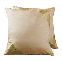 Indian Selections - Set of 2 Gold Decorative Handcrafted Sari Cushion Cover, 16x16 inches - 6 Sizes available