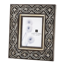 Lazy Susan - Lazy Susan 225073 Hand Carved Ornate Frame - A quality frame can enhance any photo. You'll love the look of this hand-carved silver crafted frame sitting on your mantle or shelf.  Snapshots or professional sittings, black and white images will look fantastic surrounded by this ornate frame.