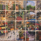 Tile Art Gallery - Splash Decor Tile Mural - Nicky Boehme - Contentment - Bring the marketplace into your kitchen space with this beautiful tile mural. Easy to install, mount it in a tiled opening as an instant pick-me-up with its bright colors and European theme.