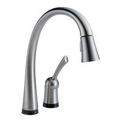 Delta Single Handle Pull-Down Kitchen Faucet with Touch2O(R) Technology - 980T-A - Pilar(R) with Touch2O(R) Technology is a distinctive kitchen faucet that coordinates with any decor and provides all the convenient functionality Touch2O(R) Technology has to offer.