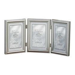 Lawrence Frames - 5x7 Hinged Triple (Vertical) Metal Picture Frame Pewter Finish - A classic brushed pewter finish frame with delicate caviar beading around the inside and outside edges.  A hinged triple frame is a great way to display multiple photos.  This brushed pewter finish frame has a high quality satin pewter finish.  High quality black velvet backing comes with hangers for wall mounting.    Heavy weight 5x7 hinged triple metal picture frame is made with exceptional workmanship and comes individually boxed.