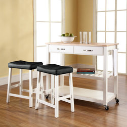 Crosley Furniture - Kitchen Cart in White Finish - Includes two 24 in. white upholstered saddle stools. Solid wood top with natural finish. Adjustable/removable shelf. Towel bar. Two deep drawers. Beautiful raised panel drawer fronts. Brushed nickel hardware. Warranty: 90 days. Made from solid hardwood and wood veneers. Hand rubbed, multi-step finish. Assembly required. 42 in. W x 18 in. D x 36 in. H (81 lbs.)Mobile kitchen cart is designed for longevity. The handsome raised panel drawer fronts provide the ultimate in style to dress up any culinary space. Remove the shelf completely to allow for storing larger objects. The heavy duty casters provide the ultimate in mobility. When the cabinet is where you want it, simply engage the locking casters to prevent movement. Style, function, and quality make this mobile solution a wise addition to your home.