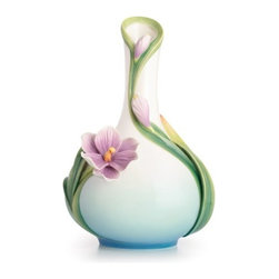 Franz Porcelain - FRANZ PORCELAIN COLLECTION Crocus Flower Mid Size Vase FZ02573 - Finished In Lead Free Glazes * Hand Painted By Franz Porcelain Artisans * FDA Approved Food/Plant Safe * New In The Original Box