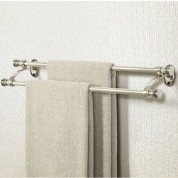 Ballard Designs - Beaded Bath Double Towel Bar - Double bar styling saves limited wall space. Includes matching hanging screws. The fine bead details and heavy cast brass construction of our Beaded Double Tower Bar recall the classic 19th century Louis Phillipe style. Designed to work with our Beaded Bath items for a timeless coordinated look. Beaded Double Towel Bar features: . .