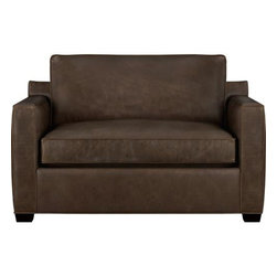Davis Leather Twin Sleeper Sofa with Air Mattress - Davis is a contemporary, compact sofa-sleeper designed to sit big in small spaces, with firm but plump support. Full-grain aniline dyed leather upholstery showcases natural markings through an innovative tannage technique that enhances its warm tones and rich character.