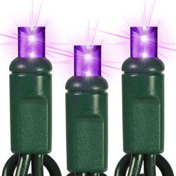 50 Light - LED - 17 ft. String - Purple - Wide Angle - Bring the magic of the holidays to your lighting with purple LED wide angle mini Christmas lights. 50 bulbs are spaced 4 inches apart on 17 feet of green wire, making the string ideal to decorate Christmas trees, interior trim, and fence lines. UL listed for indoor/outdoor use, 60 sets can be safely combined end-to-end. Cool to the touch and ten times more energy efficient than incandescent, these patented wide angle LEDs are equally brilliant from any viewing angle so your lighting display will stay true to its design.