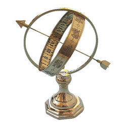 Brass Sundial - This is a beautiful solid brass antique reproduction of a sundial.  The outside of the sundial is decorated with signs of the zodiac and is supported by an adjustable thumbscrew clamp which can be set to your local latitude.  The sundials arrow points polar north and the gnomon casts a shadow onto the equatorial band which is etched with Roman numerals to indicate the local time.  This allows a linear 15 degree per hour scale.  The sundial has a heavy solid brass base, and it measures 8 inches (20.3 cm) tall, the ring is 4 3/4 inches (12.1 cm) in diameter, and the sundial weighs 1 1/2 pounds (680 grams).