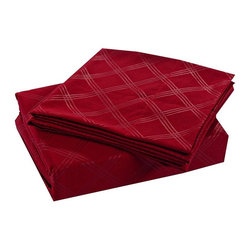 Honeymoon - Honeymoon Super Soft Embossed 4PC Bed Sheet Set, Easy Care, Burgundy Red, King - Microfiber polyester;