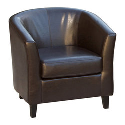 Great Deal Furniture - Petaluma Tub Design Leather Club Chair - Add a contemporary accent to your living room with Petaluma stylish arm chair in brown leather. This contemporary design leather armchair adds style and class to any room while being extremely comfortable. Buy one or a pair adding additional seating to a living room. With the high arm rests, this chair is so comfortable it will become the favorite chair of all your friends.