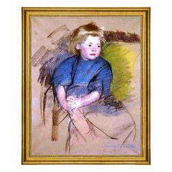 """Mary Cassatt-16""""x20"""" Framed Canvas - 16"""" x 20"""" Mary Cassatt Portrait of a Young Girl (Simone) framed premium canvas print reproduced to meet museum quality standards. Our museum quality canvas prints are produced using high-precision print technology for a more accurate reproduction printed on high quality canvas with fade-resistant, archival inks. Our progressive business model allows us to offer works of art to you at the best wholesale pricing, significantly less than art gallery prices, affordable to all. This artwork is hand stretched onto wooden stretcher bars, then mounted into our 3"""" wide gold finish frame with black panel by one of our expert framers. Our framed canvas print comes with hardware, ready to hang on your wall.  We present a comprehensive collection of exceptional canvas art reproductions by Mary Cassatt."""