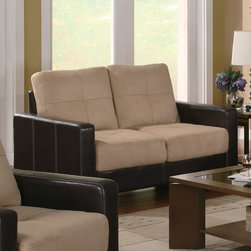Coaster - Regatta Collection Cream Casual Love Seat - This item features combination microfiber and leather-like vinyl upholstery that creates a stylish two-tone effect in your living room. This contemporary living room loveseat includes plush cream microfiber on the seats and rich dark brown vinyl-wrapped bases. Simply place in your living room for effortless style! Simple assembly required.