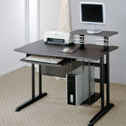 Coaster - Black Contemporary Desk - Computer workstation in metla/black color and with a marble finish black top.