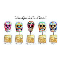 """""""Las Hijas de Don Catrin"""" - Limited Series Hand Painted Papier Mache Calaveras - Urban Legend says that """"La Catrina"""" and """"El Catrin"""" married and had five daughters whose names reflected their personalities and the way the lived and loved. Their names are """"Magali"""", """"Nayeli"""", """"Esmeralda"""", """"Adelina"""" and """"Tiza."""