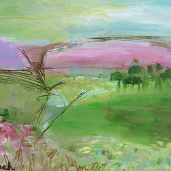 Abstract Landscape Three (Original) by Lynne Taetzsch - This abstract landscape offers a sense of peace on a quiet day, with lavender hills beckoning in the distance.  A bright meadow invites us to play in its grass and bask in the light.