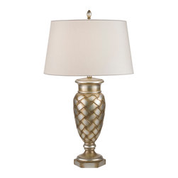 Fine Art Lamps - Recollections Table Lamp, 829010ST - Let this elegant urn-style table lamp imbue your favorite setting with light. The woven effect of the antiqued, gold-stained silver-leaf base is perfectly suited by a simple, streamlined laminated shade.