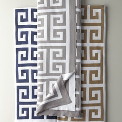 """Matouk - Arcadia Lap Throw 50"""" x 70"""" - NAVY/WHITE - MatoukArcadia Lap Throw 50"""" x 70""""DetailsDouble-faced knit throw with large Greek key motif. Made in Portugal of modal/cotton. Dry clean or machine wash.50"""" x 70"""".Designer About Matouk:The son of a jeweler John Matouk understood the principles of fine workmanship and quality materials. After studying fine fabrics in Italy he founded Matouk in 1929 as a source for fine bed and bath linens. Today the third generation of the Matouk family guides the company whose headquarters were relocated to the United States from Europe during World War II. Matouk linens are prized worldwide for their uncompromising quality and hand-finished detailing by skilled craftsmen."""