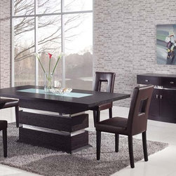Sophisticated Rectangular Wood and Frosted Glass Top Leather Modern Dining Set - Brown modern pedestal dining set with glass inlay. The Chairs have bicast leather look cushions .