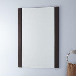 Davis Vanity Mirror - Finished in deep brown, the Davis Vanity Mirror features a distinctively modern feel. This rectangular Vanity Mirror is designed to complement the Davis Vanity Cabinet.