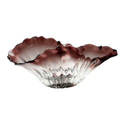 Kathy Kuo Home - Miranda Organic Sculpted Clear Red Glass Decorative Bowl - The art and craft of glass is celebrated in his ultra feminine bowl. Scalloped smoky purple edges which fade into a clear base evoke the delicate wonder of flower petals, while an asymmetrical edge echoes natures own variations and shapes.  Contemporary or traditional spaces will find a welcome addition of gentle beauty in this piece.