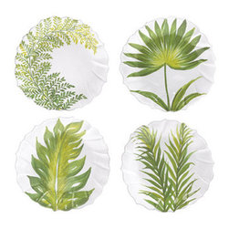 Painted Palms Assorted Salad Plate - This gorgeous set of palm plates is very appropriate for salads, but their beautiful handpainted designs seem like they are calling out to be hung on the wall.