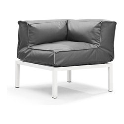 Zuo Modern - Zuo Modern Copacabana Corner in Light Gray - Corner in Light Gray belongs to Copacabana Collection by Zuo Modern The Copacabana collection is designed for funky versatility. This set has modular pieces of an armless chair, a corner armchair, an ottoman, and a table. The cover is made from a completely waterproof and UV resistant polyester fiber. The frame is made from an epoxy coated aluminum. The fill is 100% pure polystyrene beads. All the cushions can be attached via durable oversize zipper. Have fun with the cushions and throw them in the pool...they will float! Corner (1)