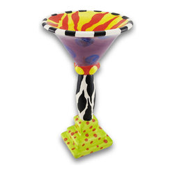 Zeckos - Erich Emmenegger Ceramic Jester Martini Glass - Designed by artist Erich Emmenegger, this martini glass from the Jester line is fun, funky and modern with an eclectic blend of color and style, this martini glass just begs for attention. Made from dolomite ceramic, it stands 7 3/4 inches high, and 4 1/2 inches in diameter with a 2 1/8 inch by 2 1/2 inch base. This is a colorful piece that adds a pop of color to your kitchen, dining room and would brighten up any shelf Feel like a king or queen with this jester martini glass ready to entertain you