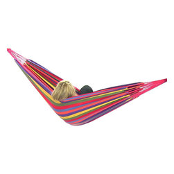 """Sunnydaze Decor - Cotton Hammock in """"Warm"""" Colors, Tropical - Bed size: 80in long, 60in wide"""