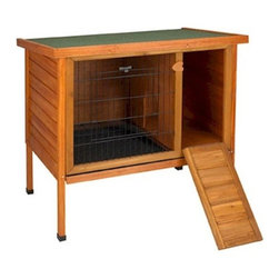 """Large Premium Plus Rabbit Hutch - Our Premium Plus Rabbit Hutch Provides The Perfect Shelter For Your Lovable Rabbit.   Your Bunny Will Feel Safe And Secure In This Durable Rabbit Hutch. It Is Made From Fir Wood And Sealed With A Water Based Non-Toxic Stain. It Is Also Equipped With Heavy Duty Powder Coated Wire. The Ware Premium + Hutch Is Constructed With The Highest Quality Materials And Craftsmanship.   The Premium Plus Rabbit Hutch Is Designed To Be Used In Covered Areas Like A Garage, Patio Or Porch.  Locking Hinge Roof Design And Slide-Out Plastic Lined Tray Add Convenience To Rabbit Cage Cleaning And Maintenance. An Enclosed Den With Solid Wood Floor Provides Your Pet With A Sense Of Security And The Front """"Hop-Way"""" Door Doubles As A Wood Ramp. Easily Assembled In Minutes Using Only A Screwdriver.   Features:  *Dimensions: 46.5"""" W X 24"""" D X 34.5"""" H *Waterproof Shingle Roof Lifts Up For Easy Access *Designed For Use Outdoors, On Patio, Or In Garage *Easy To Clean Slide-Out Plastic Pan *Assembles In Minutes With Only A Screwdriver *Rabbit Approved Hop-Way Door Included *Shipped Insured *Brand New"""