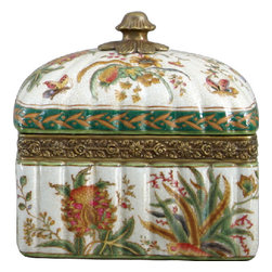 Oriental Danny - Porcelain Box with Bronze Ormolu Accent - Store all your treasures in this gorgeous porcelain box with bronze accents. This hand-painted piece features a vibrant floral pattern, and would work well as a jewelry box.