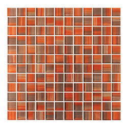 "Rocky Point Tile - Autumn 1x1 Hand Painted Glass Mosaic Tiles, 4"" X 6"" Sample - A 4"" x 6"" sample of Autumn 1x1 glass mosaic tile. A punchy mix of oranges, reds, and browns. These gorgeous glass mosaics are hand painted! Each tile is 1"" x 1"" and comes on a 12 3/4"" x 12 3/4"". We use durable fiber mesh that is very easy to work with."