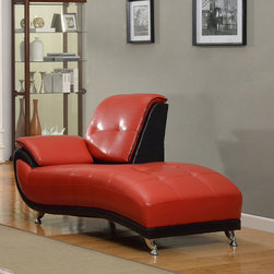 None - Mark Faux Leather Chaise Lounge Chair - Spruce up any space in your home with the unique styling of this chaise lounge chair. This chaise has two-tone faux leather upholstery with swooping lines and seam detailing.