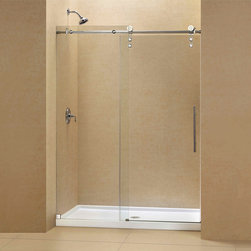 BathAuthority LLC dba Dreamline - Enigma-Z Fully Frameless Sliding Shower Door and SlimLine Single Threshold Showe - The ENIGMA-Z sliding shower door and coordinating SlimLine shower base combine to create a convenient kit that completely transforms a shower space. The ENIGMA-Z sliding shower door shines with a Fully frameless design, premium glass and high functioning performance. The striking stainless steel hardware includes innovative wheel assemblies that glide effortlessly across the perfectly engineered track. A coordinating SlimLine shower base completes the picture with a sleek low profile design. Achieve the look and feel of custom glass at an exceptional value with this efficient DreamLine shower kit.