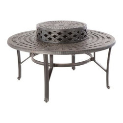 Cobblestone Cast Aluminum Wood Burning Fire Pit - Antique Topaz - The Cobblestone Cast Aluminum Wood Burning Fire Pit - Antique Topaz hearkens back to the olden times of cobblestone streets and other simple pleasures. The cast aluminum fire pit features an attractive design with an Antique Topaz finish. The log-burning pit includes an iron fire bowl, a spark screen, a wood grate, and a beverage cooler bowl. Dimensions: 48 diam. x 21.25H inches.About Alfresco HomeOffering a wide selection of fashionable products, from casual furniture and garden lighting to permanent botanicals and seasonal decor, Alfresco Home casual living products offer a complete line of interior and exterior living furnishings and accents. Based out of King of Prussia, Penn., Alfresco Home continues to blend indoor and outdoor furniture to create a lifestyle of alfresco living inside and outside of the home. Inlaid mosaic tabletops, fine hardwood furnishings, artisan-inspired accents, premium silk botanicals, and all-weather wicker sets are just a few examples of the kind of treasures you'll find in Alfresco's specially designed collections.Please note this product does not ship to Pennsylvania.
