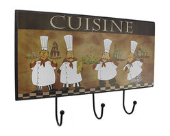 "Zeckos - French Chef ""Cuisine"" Wall Plaque with 3 Hooks - This decorative wall plaque features four chefs serving various courses of a delicious meal. It also has 3 hooks that are perfect for hanging aprons or utensils in your kitchen. The plaque measures 12 inches long, 8 inches long, 1 1/2 inches deep, and easily mounts to the wall with 2 nails or screws by the metal picture hangers on the back. This piece makes a great gift for your favorite culinary artist, and it is sure to be admired."