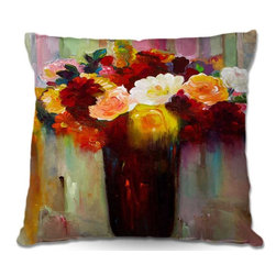 DiaNoche Designs - Pillow Woven Poplin from DiaNoche Designs by Hooshang Khorasanis Bouquet of Flow - Toss this decorative pillow on any bed, sofa or chair, and add personality to your chic and stylish decor. Lay your head against your new art and relax! Made of woven Poly-Poplin.  Includes a cushy supportive pillow insert, zipped inside. Dye Sublimation printing adheres the ink to the material for long life and durability. Double Sided Print, Machine Washable, Product may vary slightly from image.