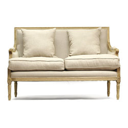 Louis Settee - Natural Oak with Natural Linen - Neutral colored fine English linen bring definition and direction to plump upholstery on the Louis Settee.  The French-derived lines of the frame � geometric, but not devoid of the subtlety and naturalness brought by controlled curves � are expertly crafted in natural oak for a pleasingly natural palette.  Plump cushions with piped edges make the seat and back luxurious.