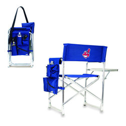 """Picnic Time - Cleveland Indians Sports Chair in Navy - The Sports Chair by Picnic Time is the ultimate spectator chair! It's a lightweight, portable folding chair with a sturdy aluminum frame that has an adjustable shoulder strap for easy carrying. If you prefer not to use the shoulder strap, the chair also has two sturdy webbing handles that come into view when the chair is folded. The extra-wide seat (19.5"""") is made of durable 600D polyester with padding for extra comfort. The armrests are also padded for optimal comfort. On the side of the chair is a 600D polyester accessories panel that includes a variety of pockets to hold such items as your cell phone, sunglasses, magazines, or a scorekeeper's pad. It also includes an insulated bottled beverage pouch and a zippered security pocket to keep valuables out of plain view. A convenient side table folds out to hold food or drinks (up to 10 lbs.). Maximum weight capacity for the chair is 300 lbs. The Sports Chair makes a perfect gift for those who enjoy spectator sports, RVing, and camping.; Decoration: Digital Print"""